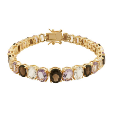 jcpenney.com | Color-Enhanced Pink and Smoky Quartz Bracelet