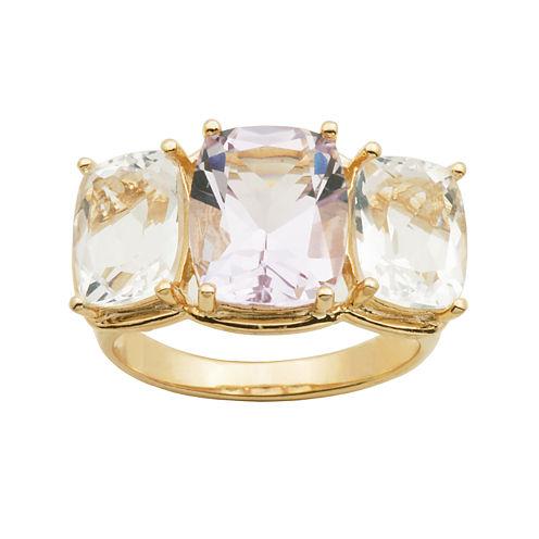 Color-Enhanced Pink & White Quartz Ring