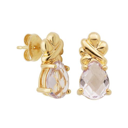 Color-Enhanced Pink Amethyst Pear-Shaped Earrings