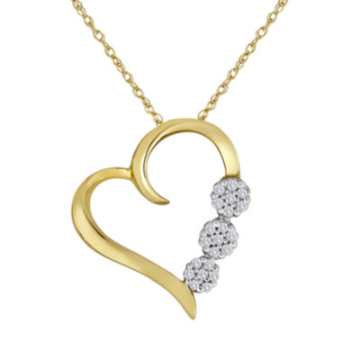 jcpenney.com | diamond blossom 1/10 CT. T.W. Diamond 3-Flower Heart Pendant Necklace