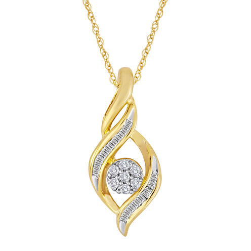 diamond blossom 1/5 CT. T.W. Diamond Cluster Pendant Necklace
