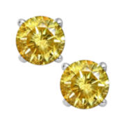 1½ CT. T.W. Color-Enhanced Yellow Diamond Stud Earrings