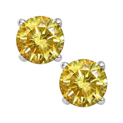 T W Color Enhanced Yellow Diamond Stud Earrings