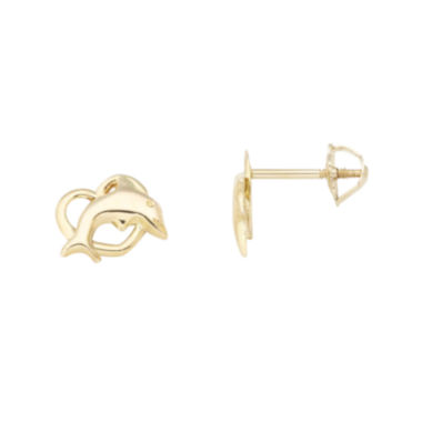 jcpenney.com | 14K Yellow Gold Dolphin Stud Earrings