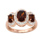 14K Rose Gold Over Sterling Silver Crystal-Accent Three-Stone Ring