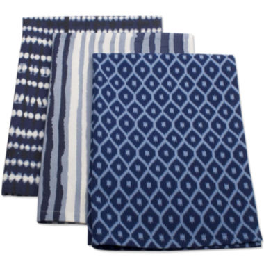 jcpenney.com | Indigo Set of 3 Kitchen Towels