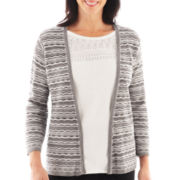 Alfred Dunner® 3/4-Sleeve Space-Dye Layered Sweater