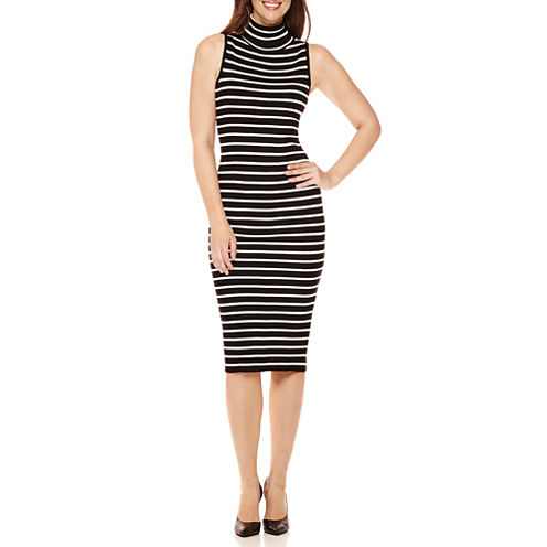 RN Studio by Ronni Nicole Sleeveless Striped Sweater Midi Sheath Dress