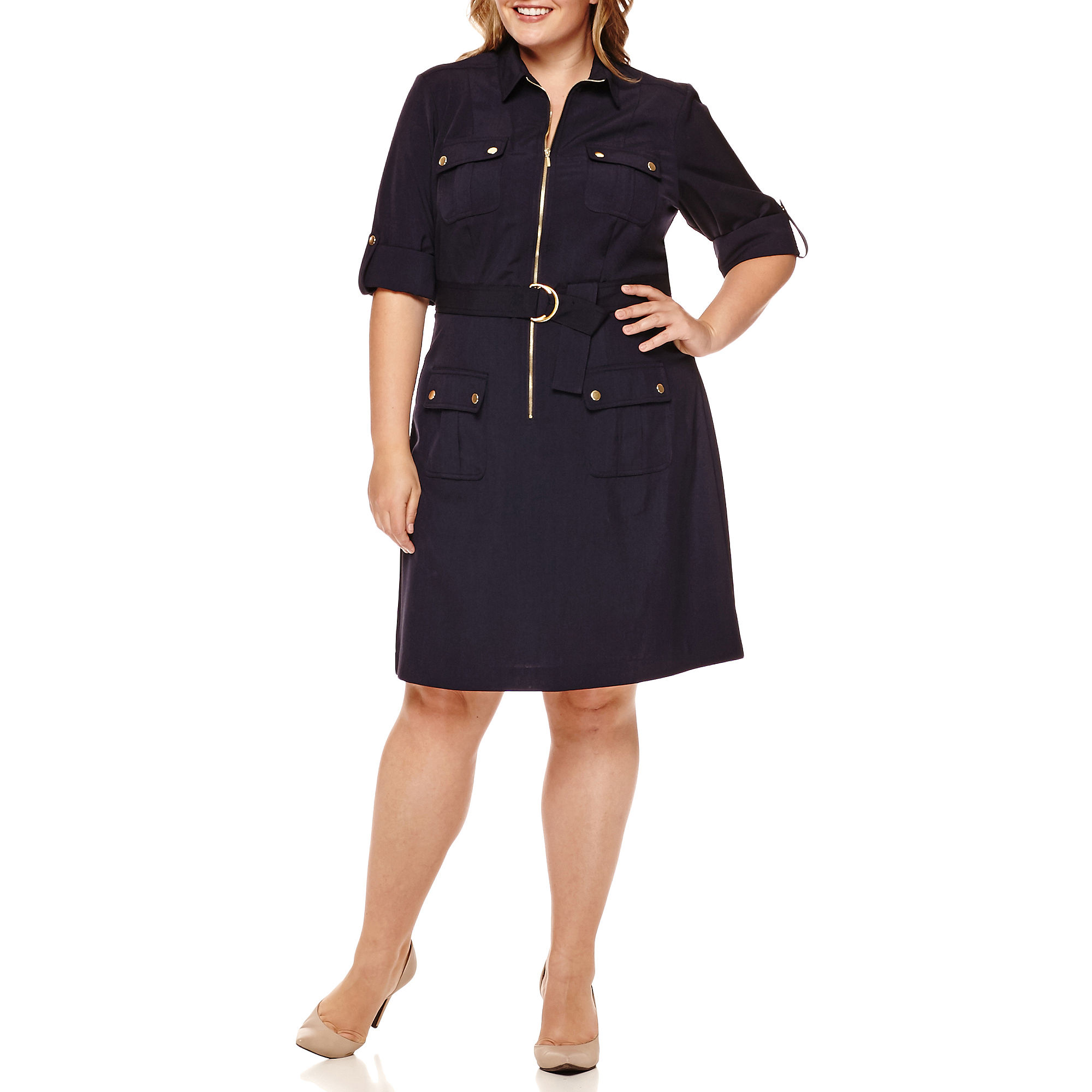 Upc 884148983797 Sharagano 34 Sleeve Zip Front Belted Shirt Dress