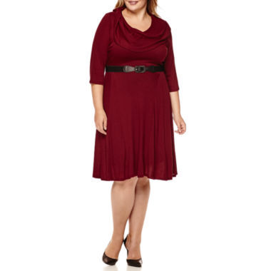 jcpenney.com | Robbie Bee® 3/4-Sleeve Belted Cowlneck Fit-and Flare Dress - Plus