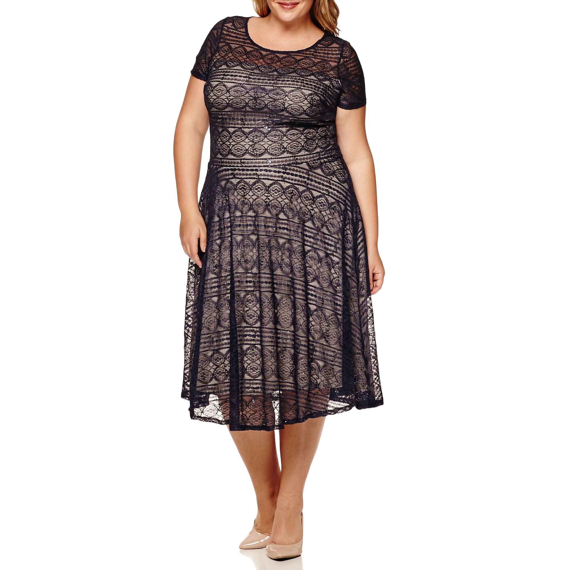 Melrose Short-Sleeve Sequin Lace Fit-and-Flare Dress - Plus