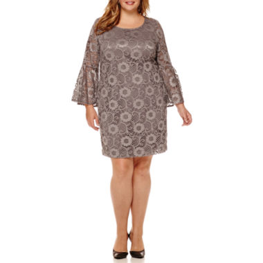 jcpenney.com | Robbie Bee® Long-Sleeve Lace Fit-and-Flare Dress - Plus