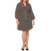 Robbie Bee® 3/4-Sleeve Tie-Front Dot Sheath Dress - Plus