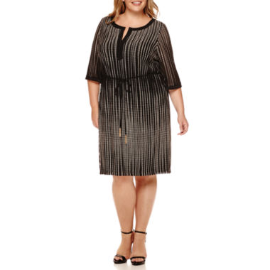 jcpenney.com | Studio 1® 3/4-Sleeve Belted Mesh Sheath Dress - Plus