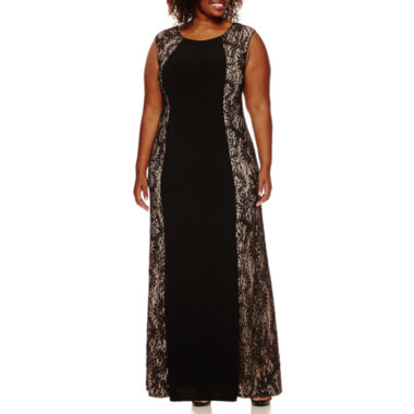 jcpenney.com | R&M Richards Sleeveless Lace-Panel Gown - Plus