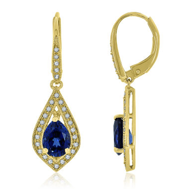 jcpenney.com | Blue Sapphire 14K Gold Over Silver Drop Earrings