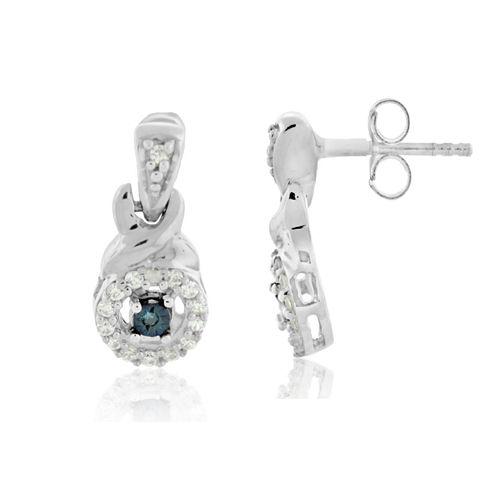 Sterling Silver 1/8 C.T. T.W. Color Enhanced Blue Diamond Stud Earrings