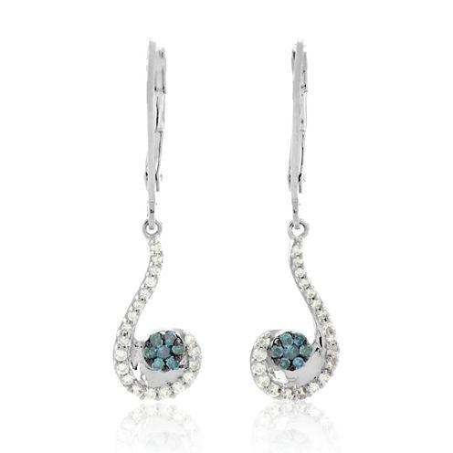 1/3 CT. T.W. Blue Diamond Sterling Silver Drop Earrings