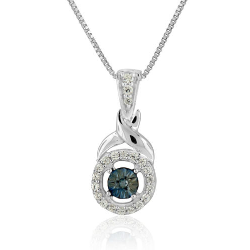 Womens 1/8 CT. T.W. Blue Diamond Sterling Silver Pendant Necklace