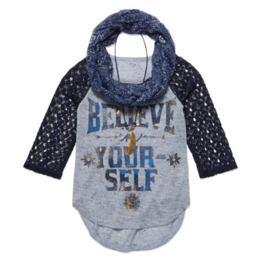 jcpenney.com | Beautees 3/4 Lace-Sleeve Graphic Raglan Top with Scarf & Necklace Girls 7-16