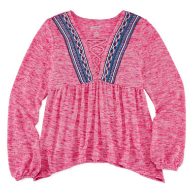 jcpenney.com | Arizona Long-Sleeve Puff-Embroidered Lace-Up Knit Top - Girls 7-16