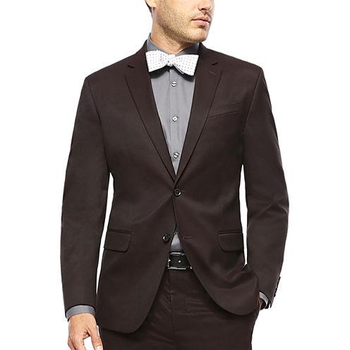 JF J. Ferrar® Burgundy Twill Suit Jacket - Slim Fit