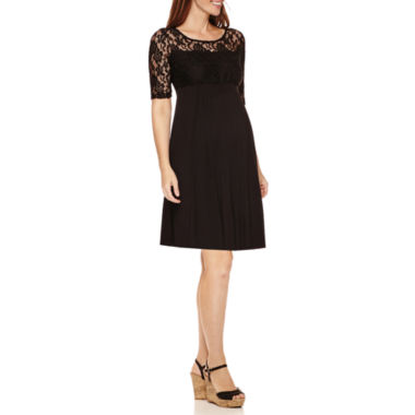 jcpenney.com | Maternity Elbow-Sleeve Lace-Top Knit Dress