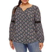 Arizona Long-Sleeve Crochet Detail Print Tunic Blouse - Juniors Plus