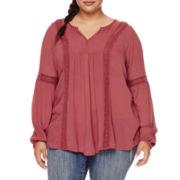 Arizona Long-Sleeve Crochet Detail Gauze Tunic Blouse - Juniors Plus