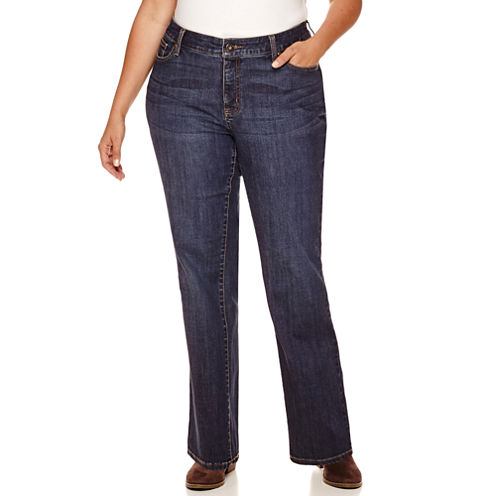 """St. John's Bay® Straight-Leg Jeans-Plus (31""""/29"""" Short)"""