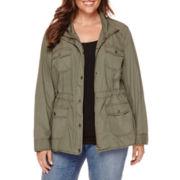 St. John's Bay® Long-Sleeve Twill Anorak Jacket - Plus