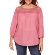 St. John's Bay® 3/4-Sleeve Lace Peasant Blouse - Plus