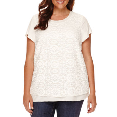 jcpenney.com | St. John's Bay® Short-Sleeve Pleated-Yoke Blouse - Tall