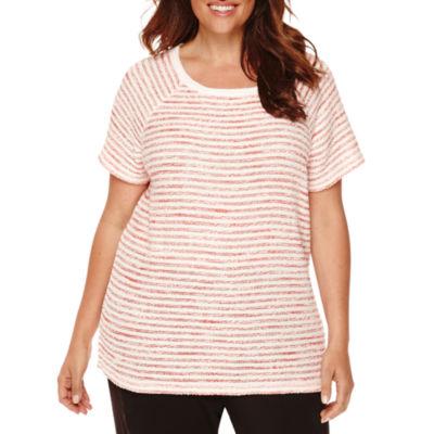 Liz Claiborne® Short-Sleeve Stretch Boucle Sweater - Plus