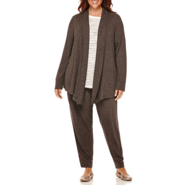 jcpenney.com | Liz Claiborne® Rib-Trim Open Cardigan, Stretch Boucle Sweater or Jogger Pants - Plus