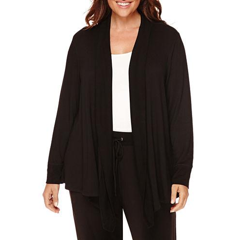 Liz Claiborne® Long-Sleeve Rib-Trim Open Cardigan - Plus