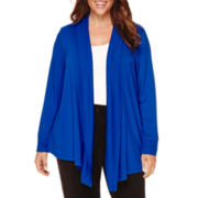 Liz Claiborne® Long-Sleeve Rib-Trim Open Cardigan - Plus