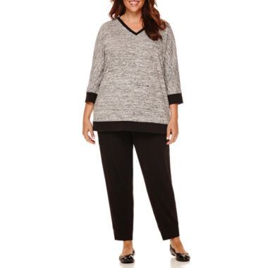 jcpenney.com | Liz Claiborne® Terry Pullover Tee or Black Jogger Pants - Plus