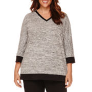 Liz Claiborne® 3/4-Sleeve V-Neck Terry Tee - Plus