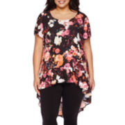 Boutique+™ Short-Sleeve High-Low Ruffled Tunic - Plus