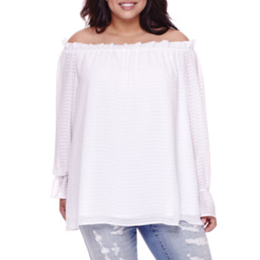 jcpenney.com | BELLE + SKY™ Long-Sleeve Off-the-Shoulder Blouse - Plus