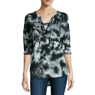 jcpenney.com | a.n.a® 3/4-Sleeve Dolman Lace-Up Tee