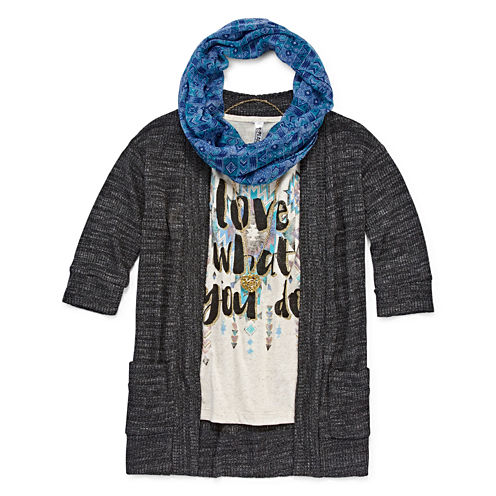 Beautees 4-pc. Elbow-Sleeve Cozy with Tank Top, Necklace and Scarf - Girls 7-16