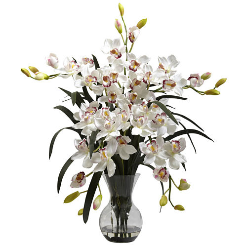 Nearly Natural Large Cymbidium With Vase Arrangement