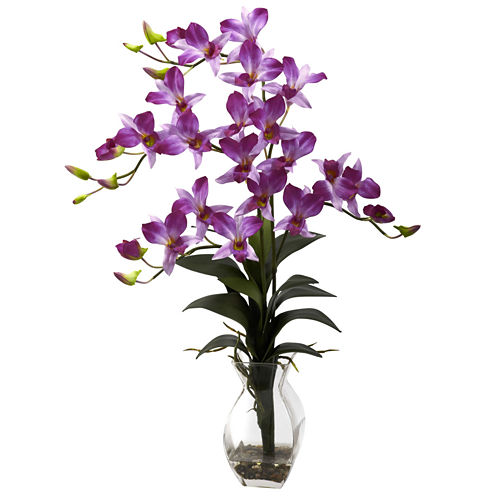 Nearly Natural Dendrobium Orchid with Vase Arrangement