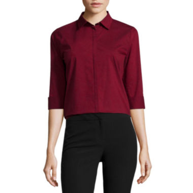 jcpenney.com | Worthington® 3/4-Sleeve Button-Front Oxford Shirt