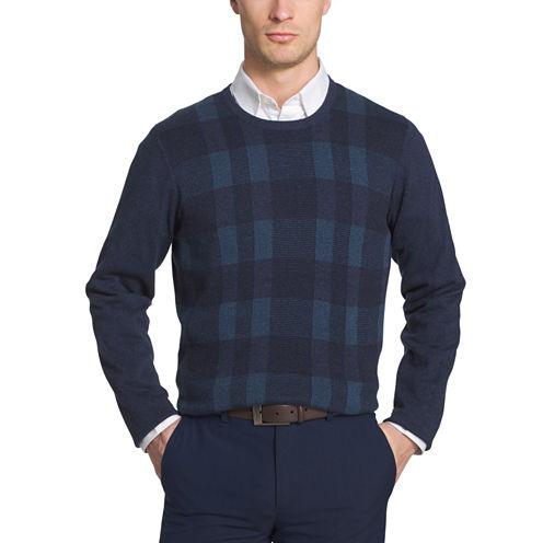 Van Heusen Plaid Novelty Crewneck Long Sleeve Pullover Sweater