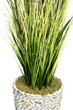 74 Inch Tall Onion Grass With Twigs In 16 Inch Faux-Pebble Planter