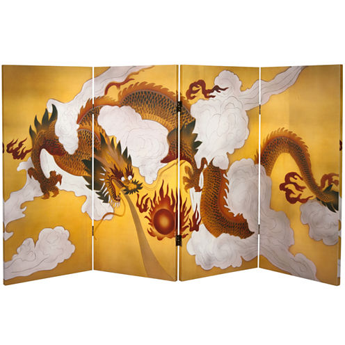 Oriental Furniture 3' Dragon In The Sky Room Divider