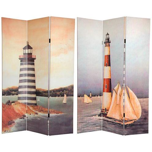 Oriental Furniture 6' Lighthouses Room Divider